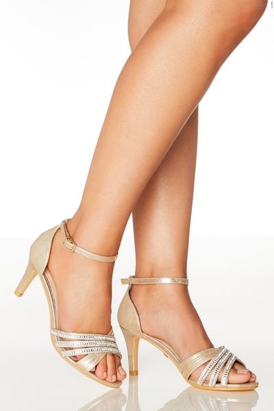 Gold Wide Fit Diamante Sandals